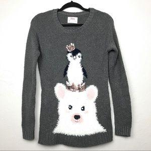 Justice Winter Penguin Polar Bear Sweater Sz 14